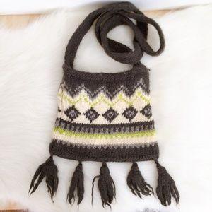 Esprit Vintage Knit Grey Cream Green Crossbody bag